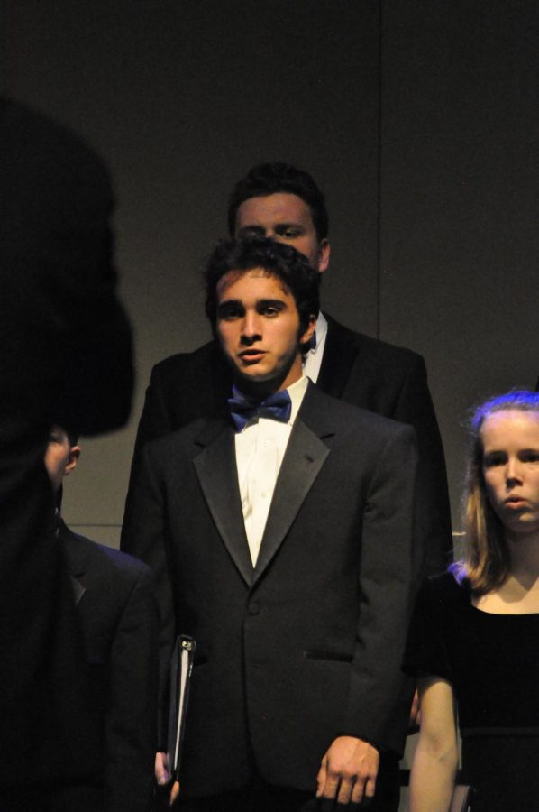Senior Jack Hoffpauir, sings during the Chamber choir performance.