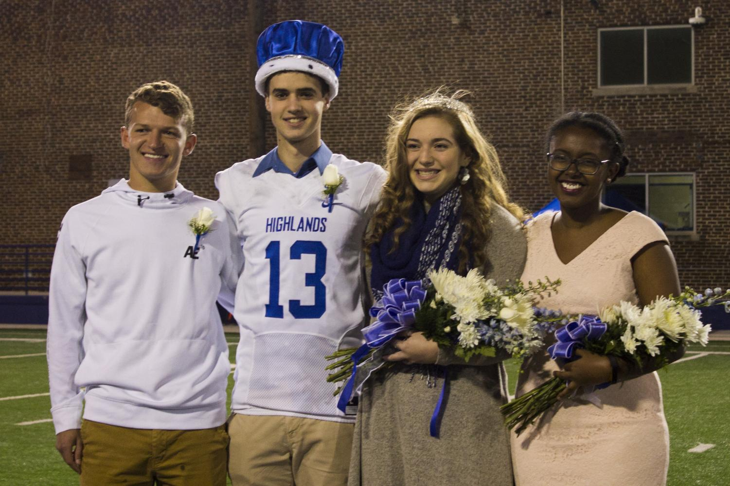 2017 Homecoming King Nick Gish, 2017 Homecoming King Austin King (Stand In - Trey Gabbard), 2018 Homecoming Queen Zoie Barth, and 2017 Homecoming Queen Bonny Lemma