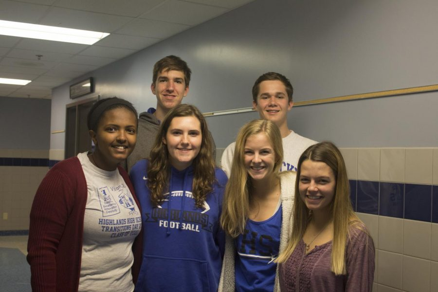 The 2018-2019 Class Officers - Front (L to R) - Hiren Lemma, Megan Farney, Caroline Buecker, and Nevaeh Votel.  Back (L to R) - Austin Hyder and Dave Herfel