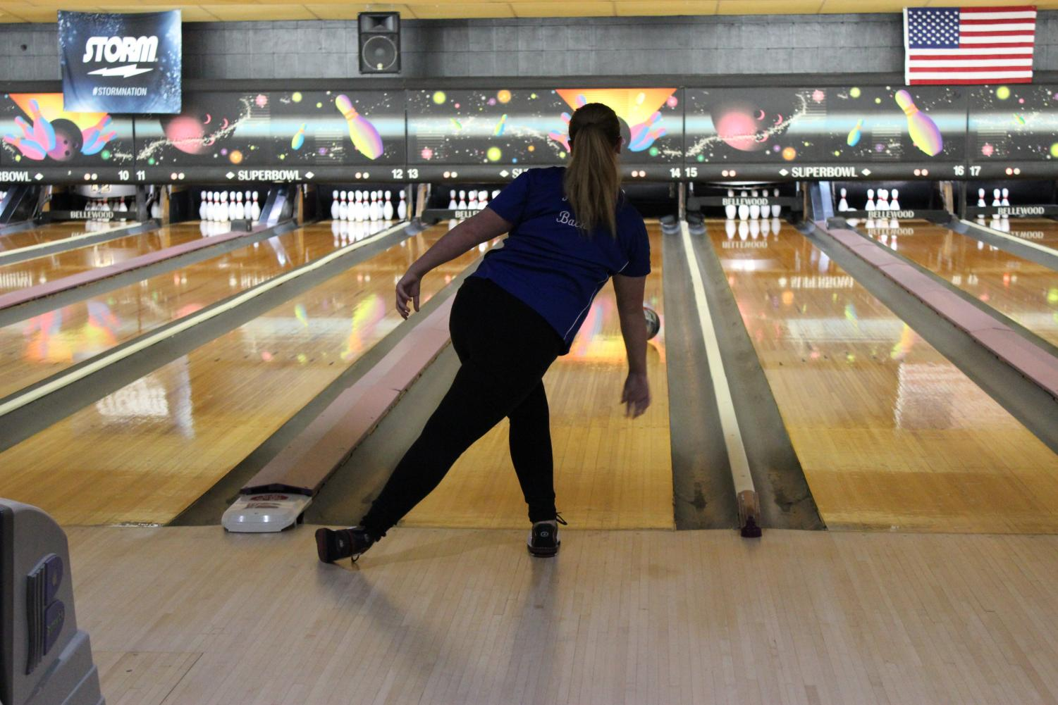 Sophomore Abby Bach shooting for a spare.