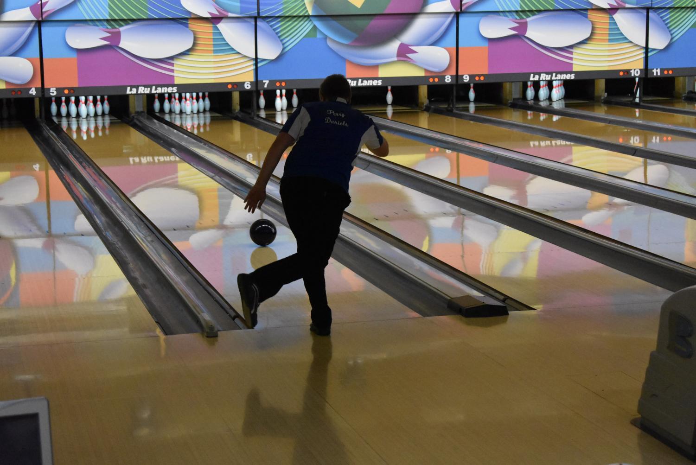Junior Perry Daniels bowls a straight ball.