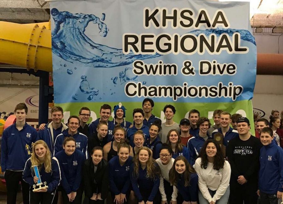 Swim team at KHSAA 2019 regionals.