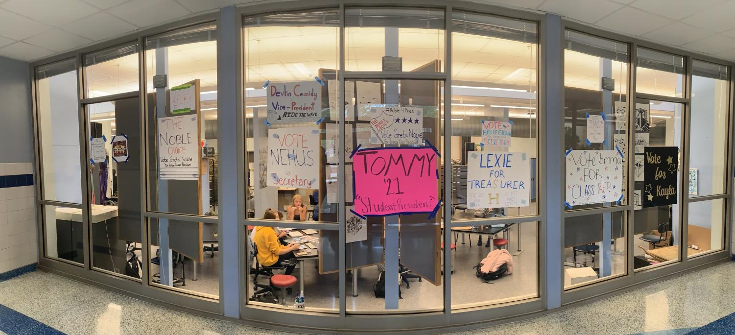 Juniors running for class officers decked the front entrance with campaign posters.