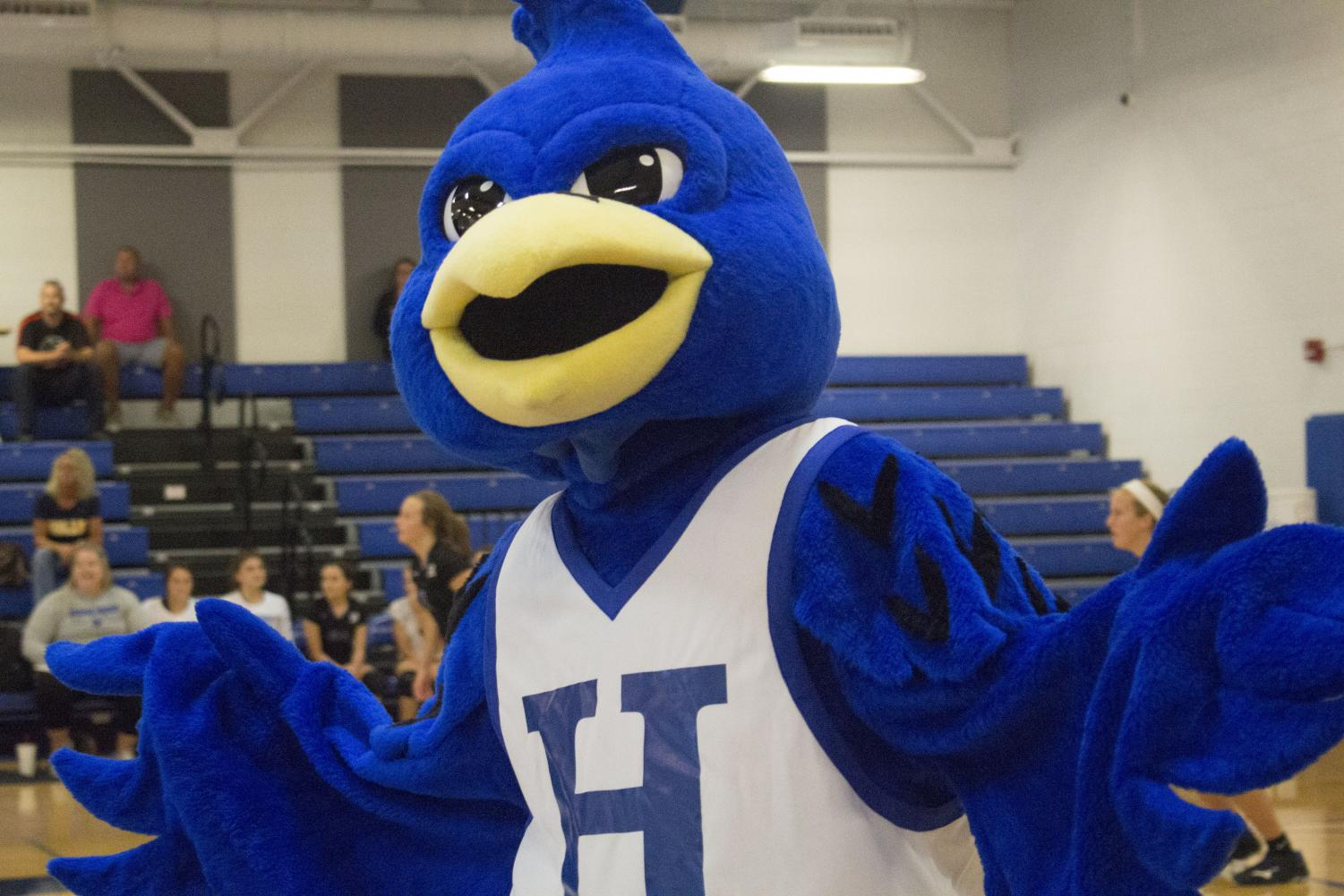 The Highlands Bluebird Mascot makes an appearance during the Freshmen match to pump up the crowd.