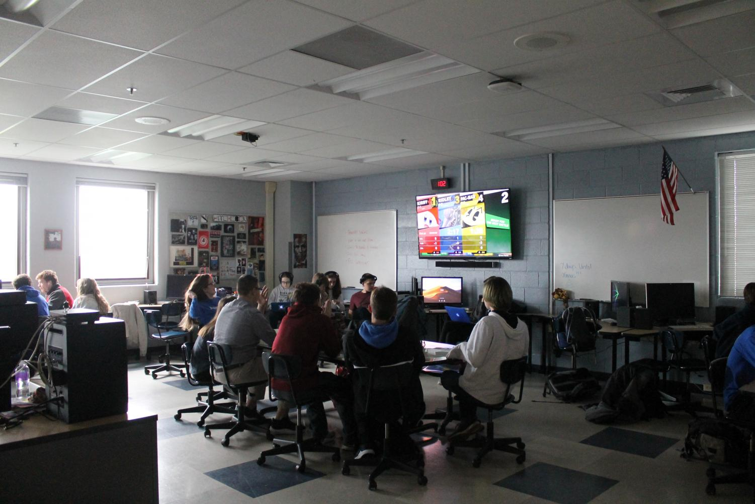 Mr. Poff's Advisory class plays a game of Mario Kart to relax during a stressful week.