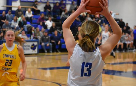 Senior Maggie Hinegardner prepares to pass the ball.