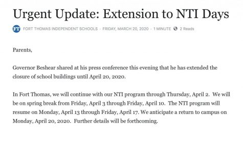 Governor Beshear extends NTI days in COVID-19 update