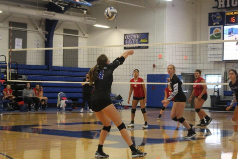 Junior Laura Winkler bumps the ball to her teammate.