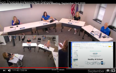 The Fort Thomas Independent Schools Special Board Meeting on September 2, 2020. Image courtesy of HHSFilmAndBroadcast.