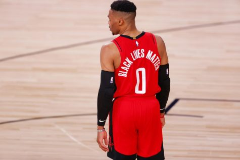 "NBA player Russell Westbrook with ""BLACK LIVES MATTER"" on the back side of his jersey replacing his last name. Photo courtesy of Fansided."