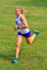 Senior Maggie Schroeder runs in a recent race at Highland Hills Park.
