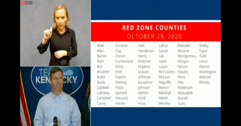 Governor Andy Beshear displays the 68 red zone counties in his update on Thursday, October 29.