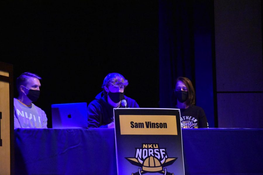 Senior Sam Vinson talks about his experiences with basketball and thanks his parents and coach after signing on to Northern Kentucky University's roster.