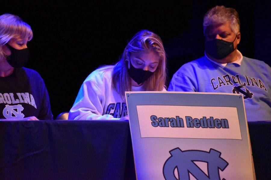 Senior Sarah Redden signs on to the University of North Carolina's rowing team.