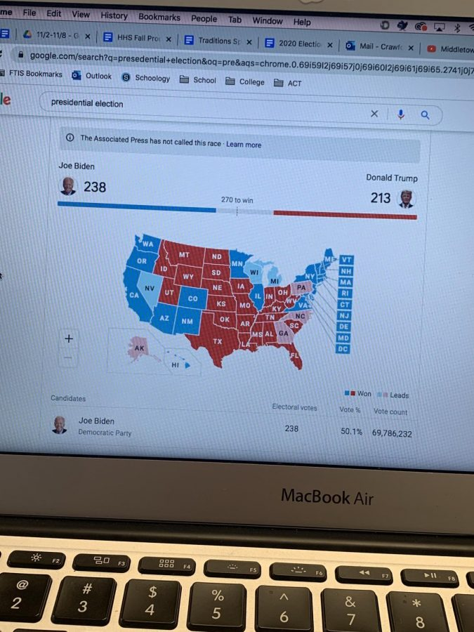 The presidential election map, updated by the Associated Press, displays the election results as of now.