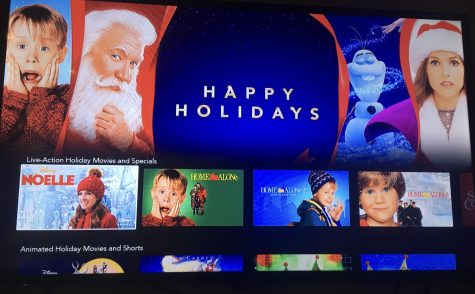 Disney+ advertises many holiday season movie options.