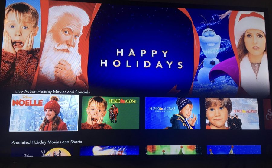 Disney+ advertises many holiday season movie options.