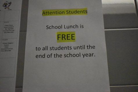 The Highlands cafeteria staff posted an announcement about free lunches for the rest of the school year.