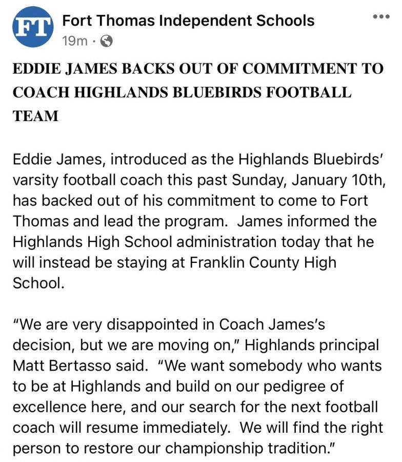 Fort Thomas Independent Schools released a statement regarding James' backing out of coaching Highlands football.