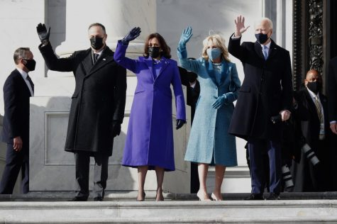 From left: Second Gentleman Doug Emhoff, Vice President Kamala Harris, First Lady Jill Biden, and President Joe Biden wave from the steps of the Capitol. Photo courtesy of Creative Commons.