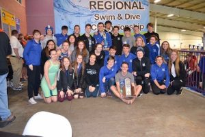 This is a photo taken at last years regional swim and dive meet championships.
