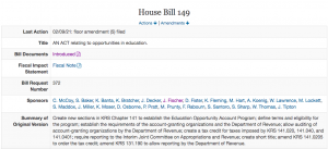 HB 149 establishes a tax credit voucher for families who send their children to private schools.
