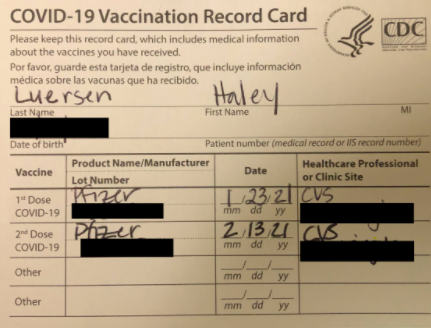 My COVID-19 Vaccination Record Card that includes information about my specific vaccine.
