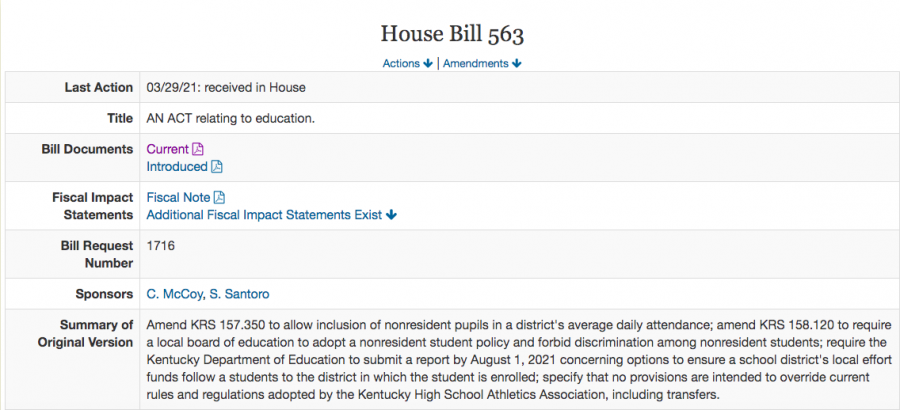 Screenshot of the updated textual summary and key information on HB 563.