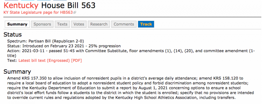 Text/summary of HB 563.