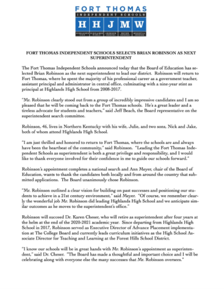 Press Release sent out by Fort Thomas Independent Schools announcing that Brian Robinson will be the next superintendent.