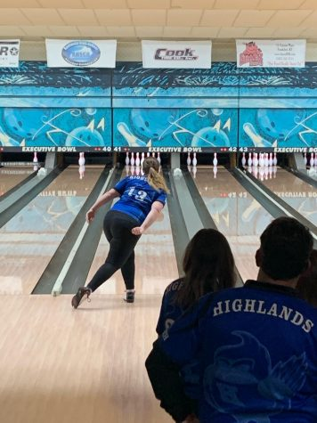 Senior Abby Bach throws for a strike during the KHSAA State Team Tournament.