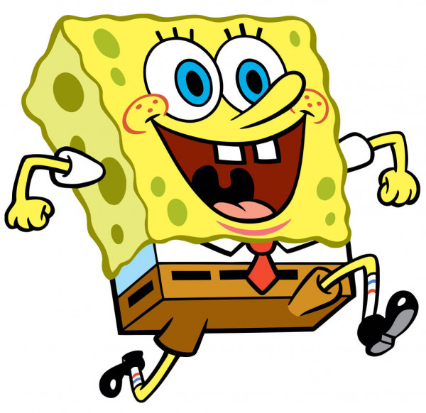The character, SpongeBob Squarepants, is shown running with a huge smile on his face.