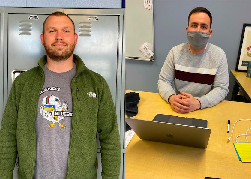 History teacher Zachary Borgman and math teacher Sam Volphenhein are shown as new members added to the bluebird nest.