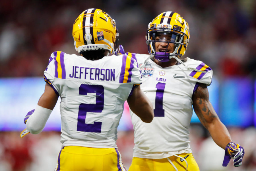 In 2019, LSU teammates, wide receiver Justin Jefferson and JaMarr Chase celebrate a touchdown in the second quarter over the Oklahoma Sooners.