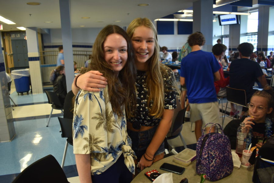 Freshmen Annelle Scully and Lily Arnberg smile together while wearing matching Hawaiian shirts