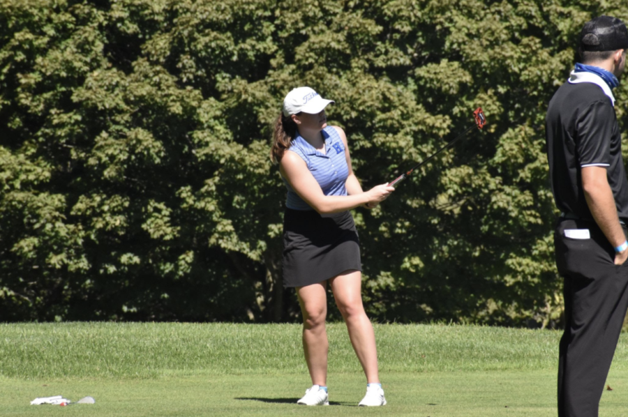 Senior KJ Toole follows through her swing at the 2020 State Championship Match.