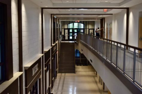 Hallway that leads to the cafeteria, gym, and music/art room.