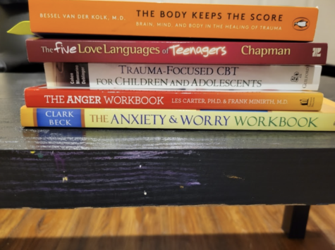 Stack of books about mental health in teenagers.