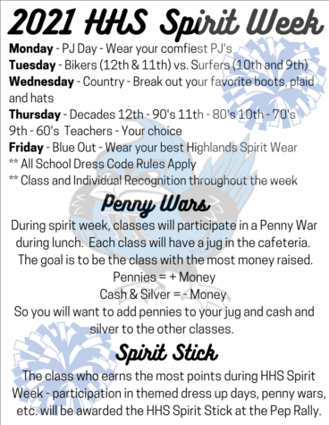 HHS Spirit Week schedule, along with information over Penny Wars and the Spirit Stick.