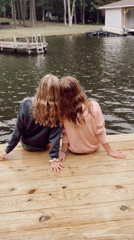Freshmen Ellie Mohr and Mollie Anderson enjoying the views in Lake Anna.