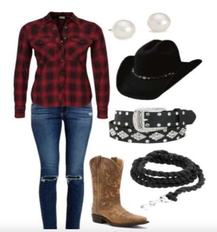 Sophomore Kasey Gross puts together an idea of what she wants her cowgirl costume to look like.