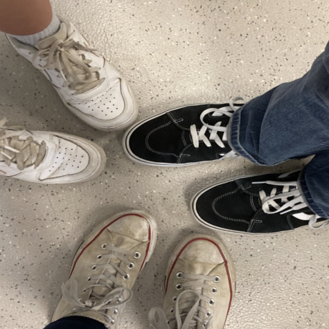 Highlands High School students show off their Air Forces, Converse, and Vans.
