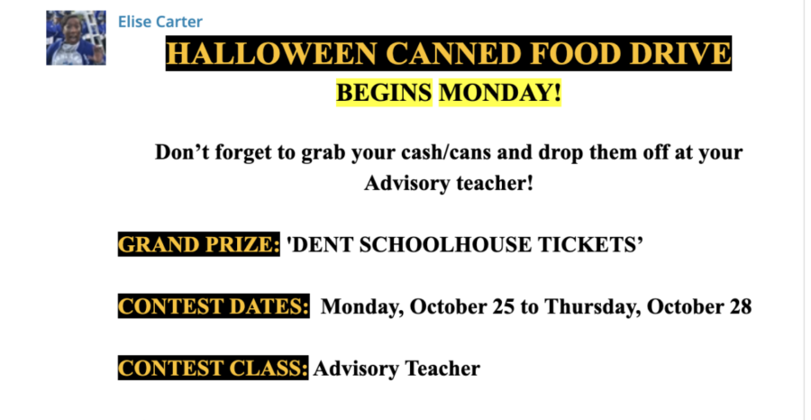 HHS Teacher Elise Carter sends out a message to Highlands High School students about the canned food drive.